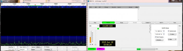 WSPR via WSJT-X 1.6.0 devel